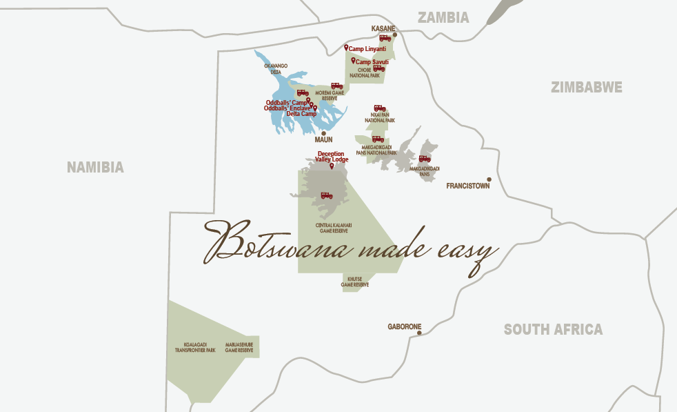 CM Travels | Botswana | Footsteps in Africa | Map of Camps